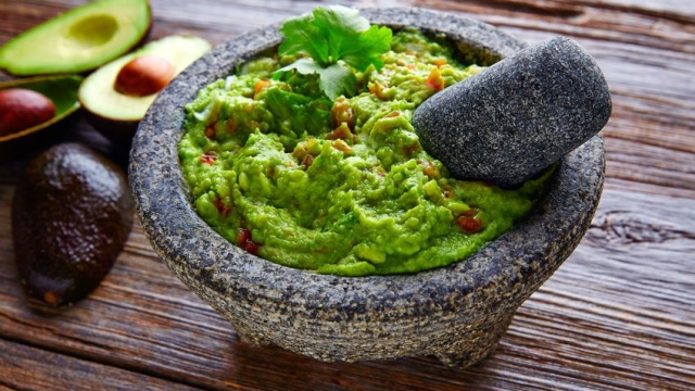 avocado guacamole on molcajete