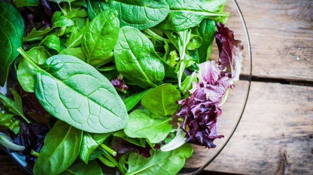 Fresh green salad with spinach,arugula,romane and lettuce